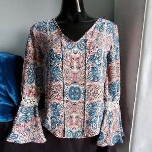 Hippie Rose Pink&Blue Paisley bell sleeve